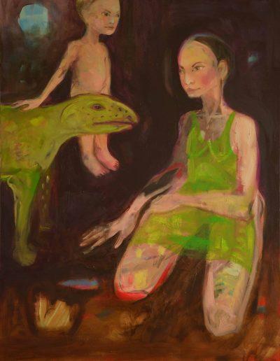 Mere, enfant et le chien vert115X90 cm