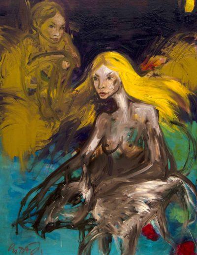 la femme l'enfant et le chien peinture copie