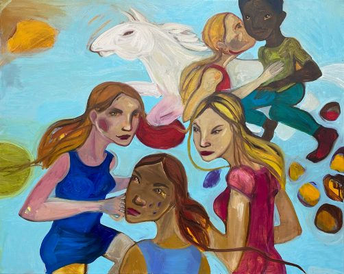 Heras daughters 100x80cm oil on Canvas