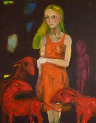 fille et les chiens rouges 115X90 cm