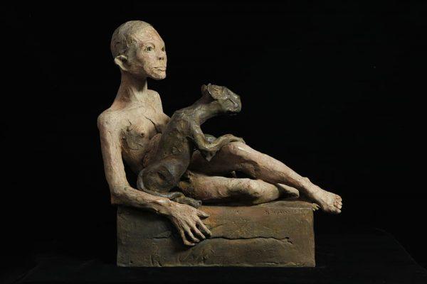 leng femme et le animal bronzeleg