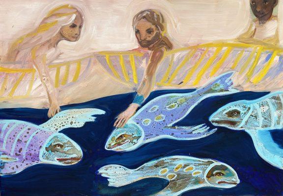touching flying fishs 70 x100cm